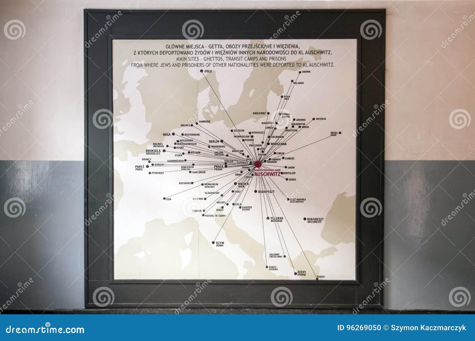 Auschwitz Karte.Museum Auschwitz Karte Auf Wand Redaktionelles Bild Bild Von