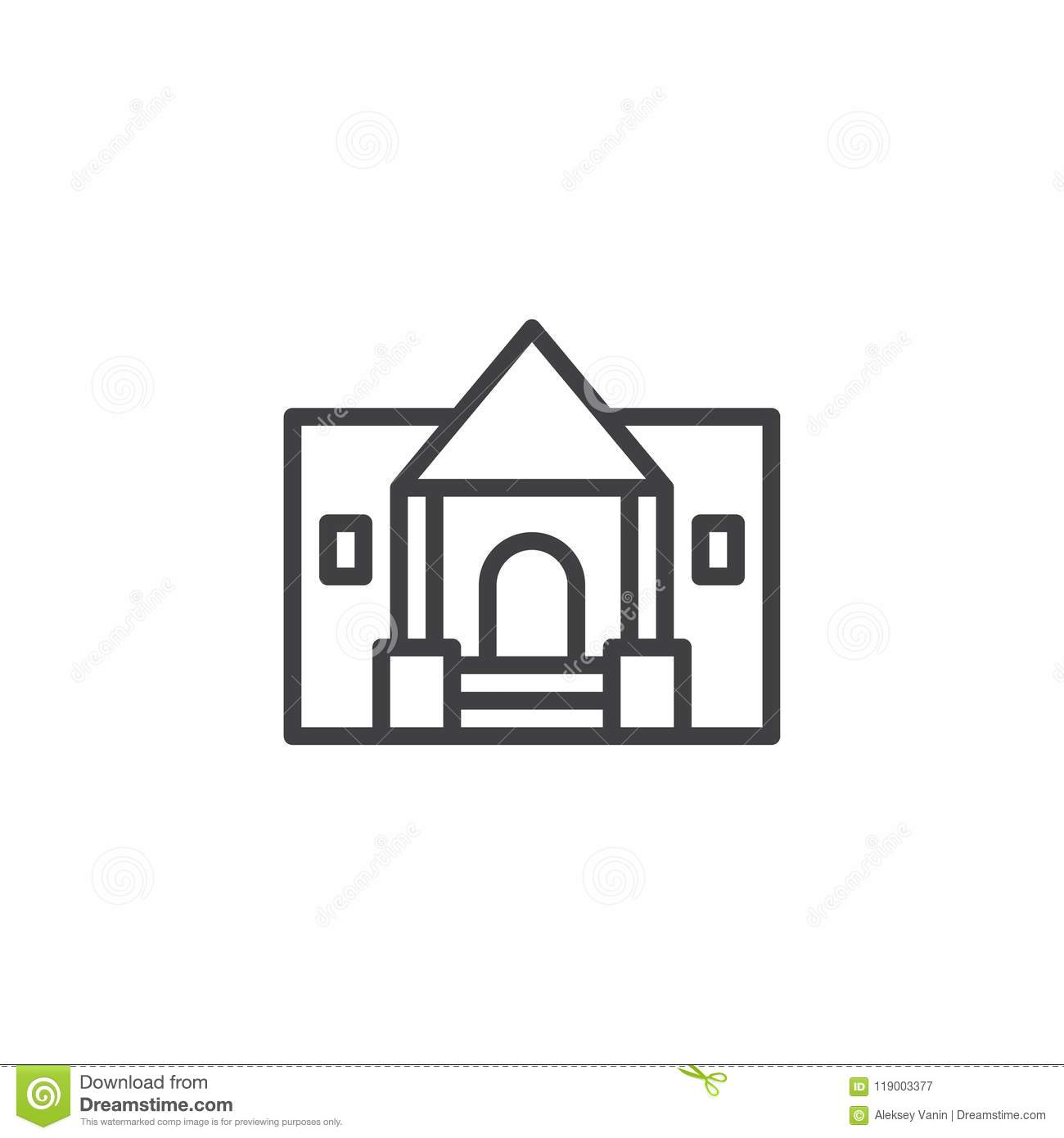 Museum Building Outline Icon Stock Vector - Illustration of ancient