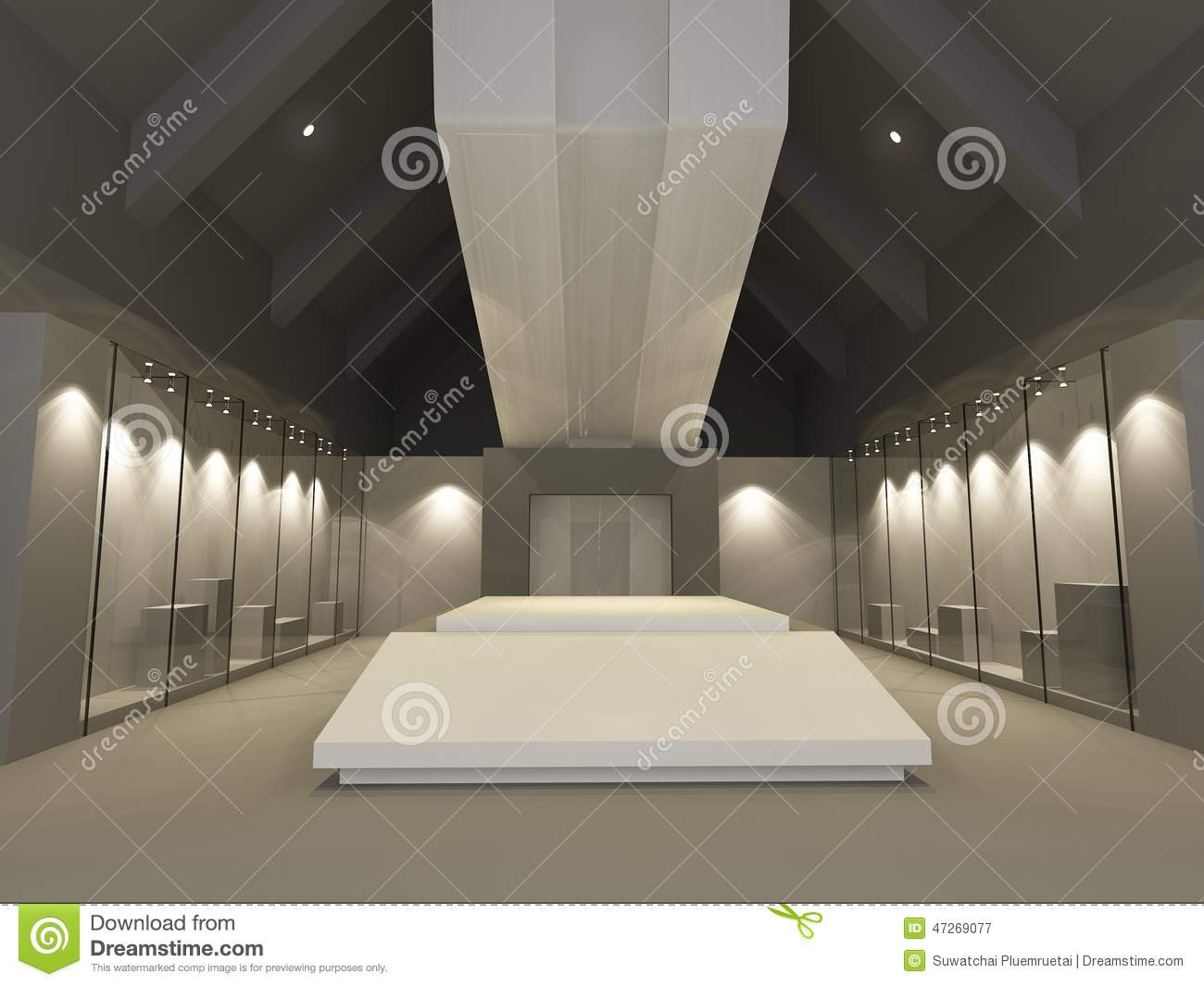 D Max Exhibition Hall : Museum exhibition hall stock illustration image