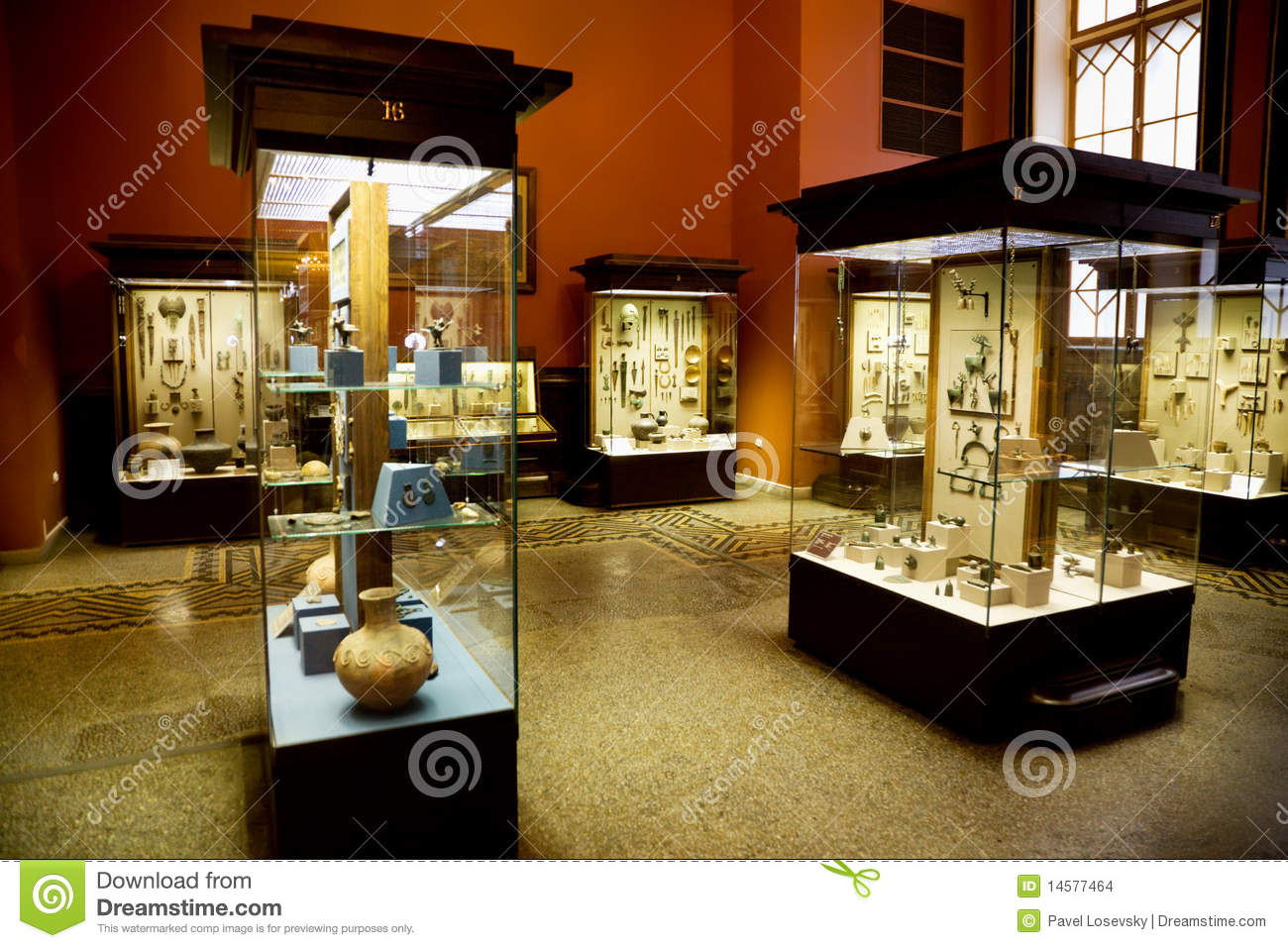 Museum Exhibits Of Ancient Relics In Glass Cases Stock