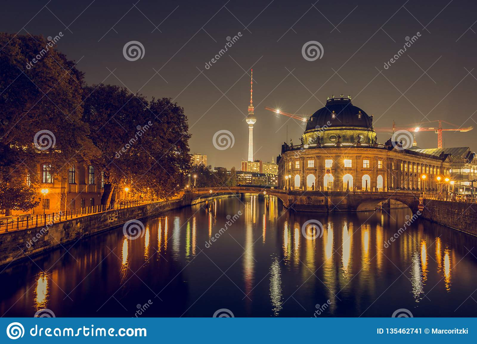 Museum Island from berlin skyline at night and TV tower