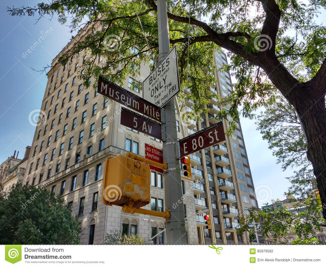 Museum Mile, 5th Avenue at East 80th Street, Street Signs, Central Park Scenic Landmark, Upper East Side, Manhattan, NYC, NY, USA
