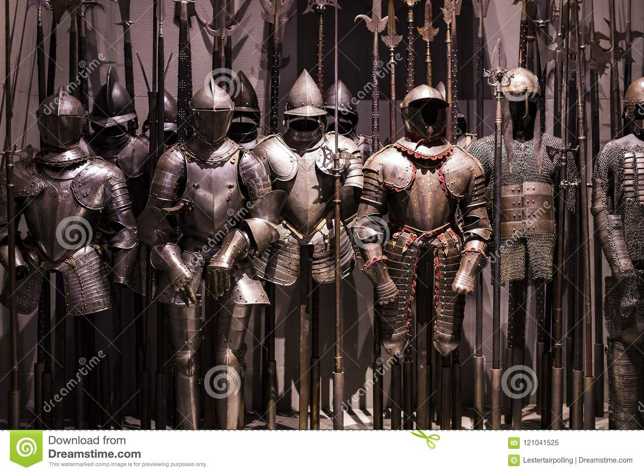 museum of the poldis pezzoli knights hall with samples of medieval
