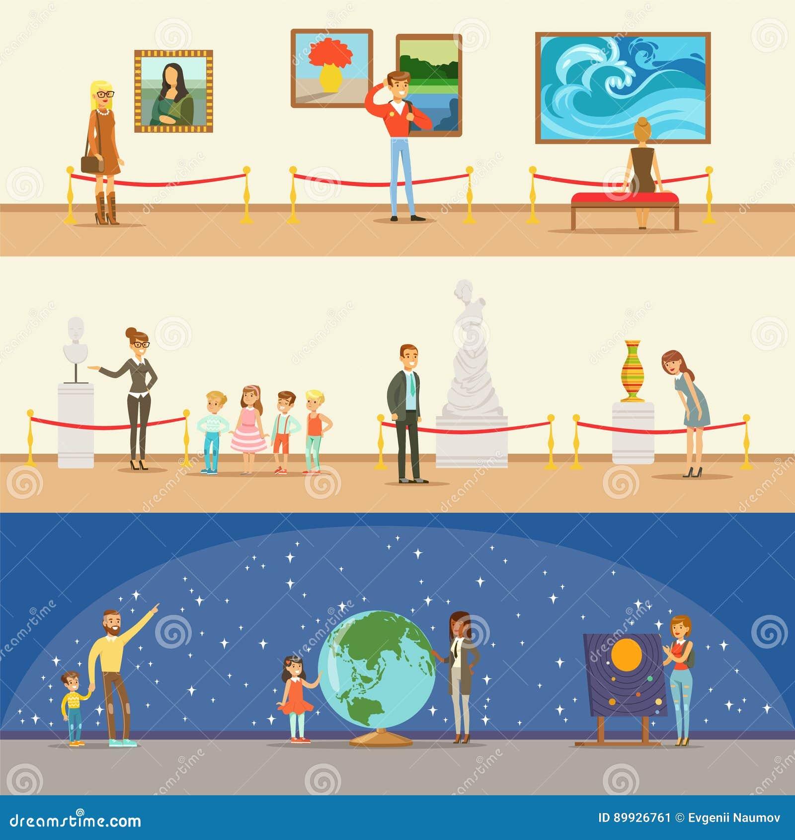 Museumbezoekers die een Museumreis met en zonder een Gids nemen die in Art And Science Exhibitions Series bekijken van