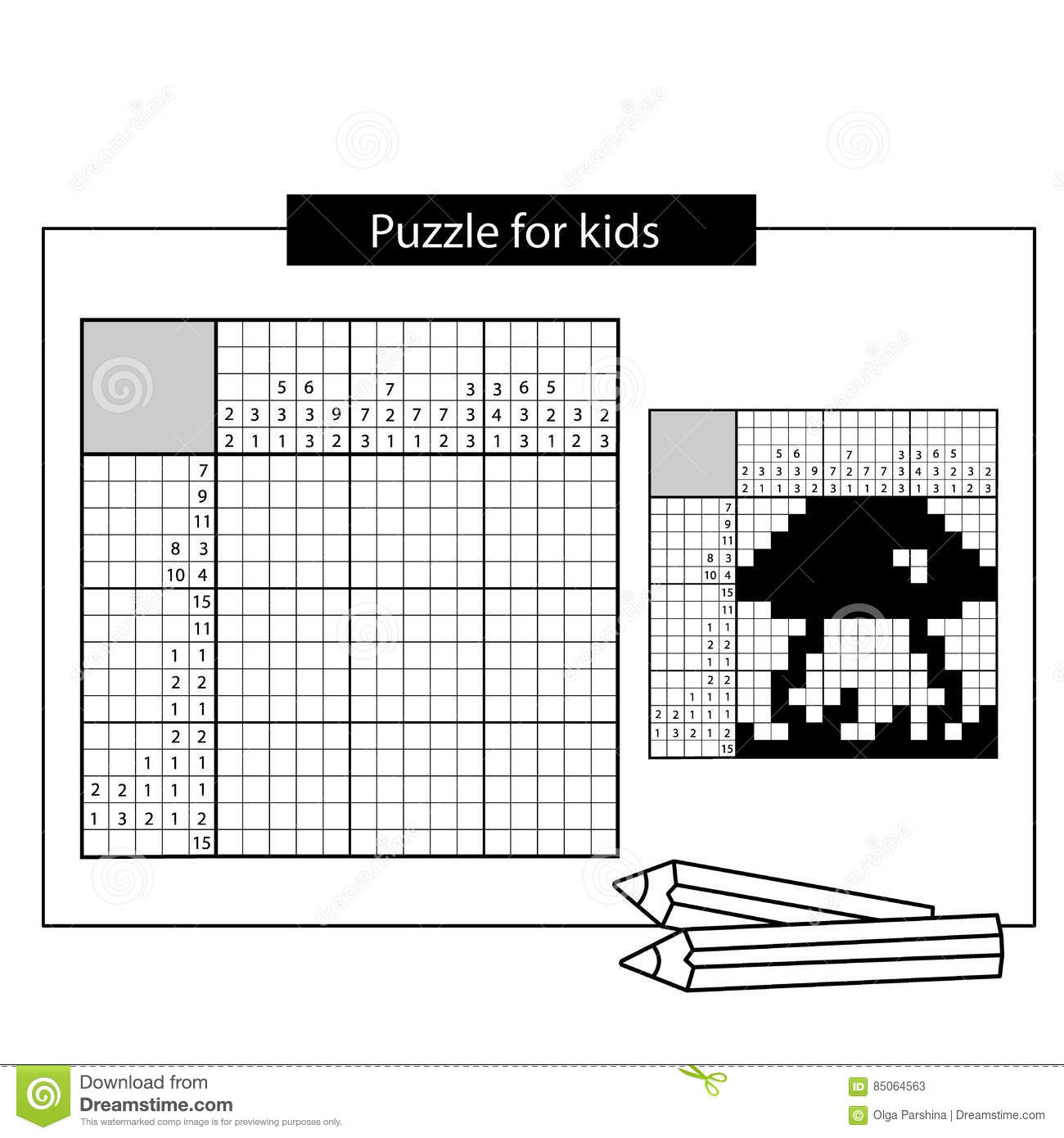 Mushroom Black And White Japanese Crossword With Answer Stock