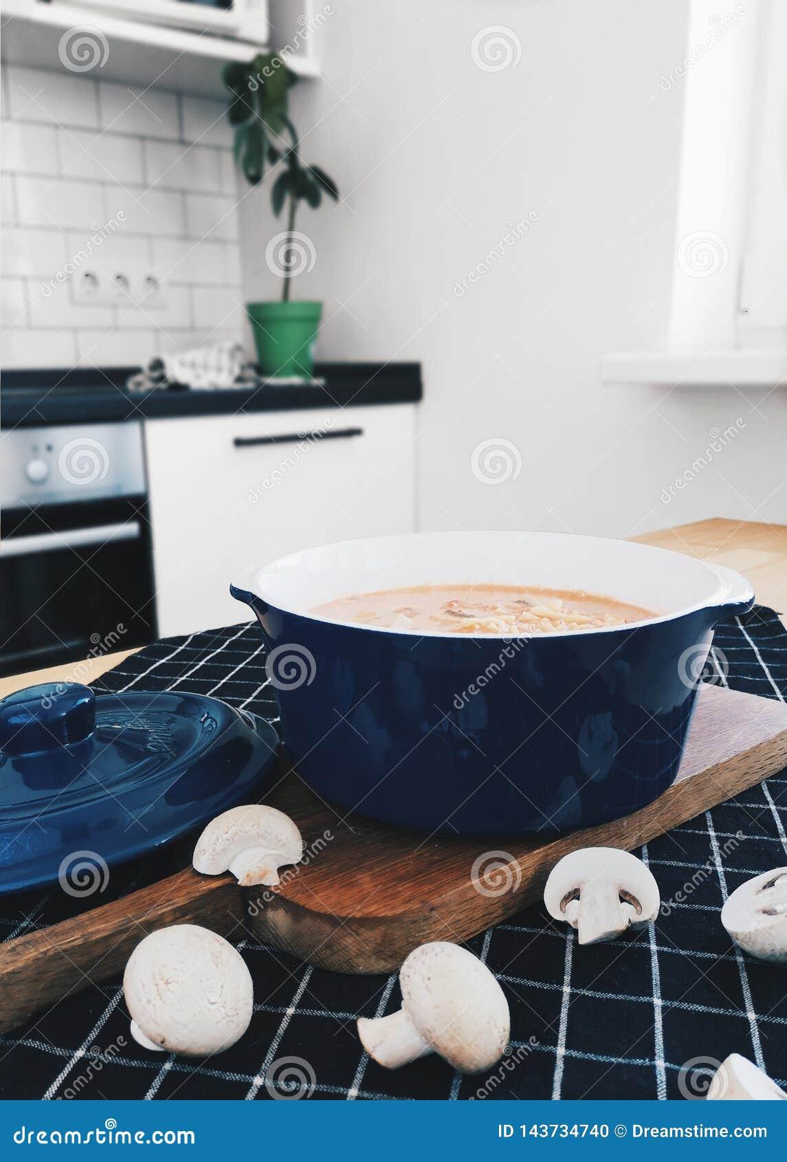 Mushroom cream soup in Milan