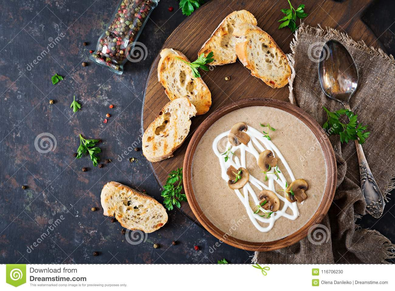 Mushroom cream soup. Vegan food. Dietary menu. Top view