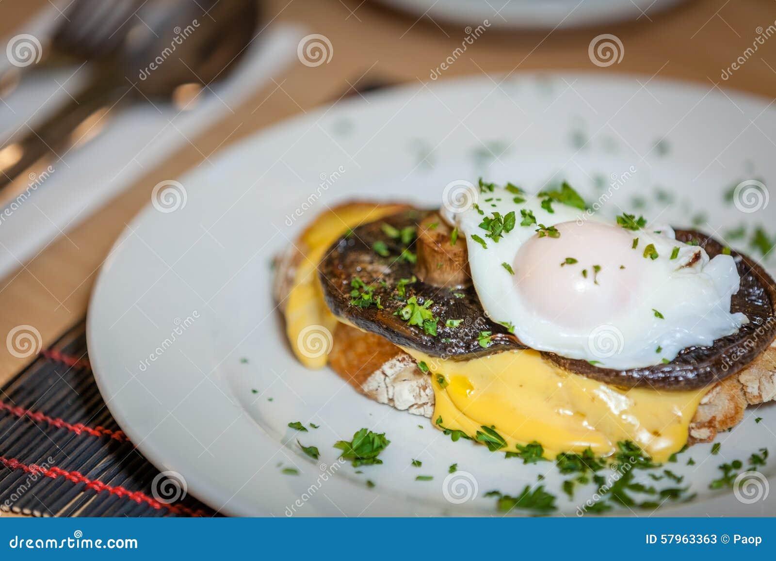 Mushroom Egg Benedict Sandwich Stock Photo - Image: 57963363