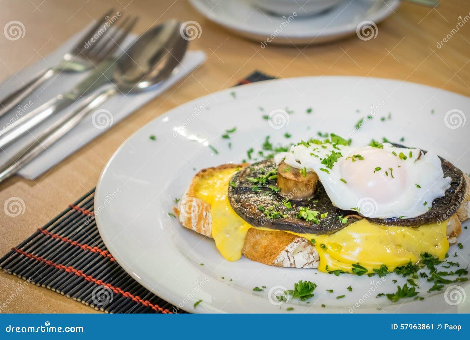 Mushroom Egg Benedict Sandwich Stock Photo - Image: 57963861