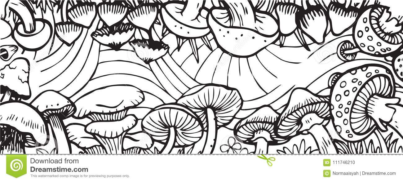 Mushroom Garden Theme Adult Coloring Book Illustration Stock Illustration -  Illustration Of Dreamland, Jpeg: 111746210
