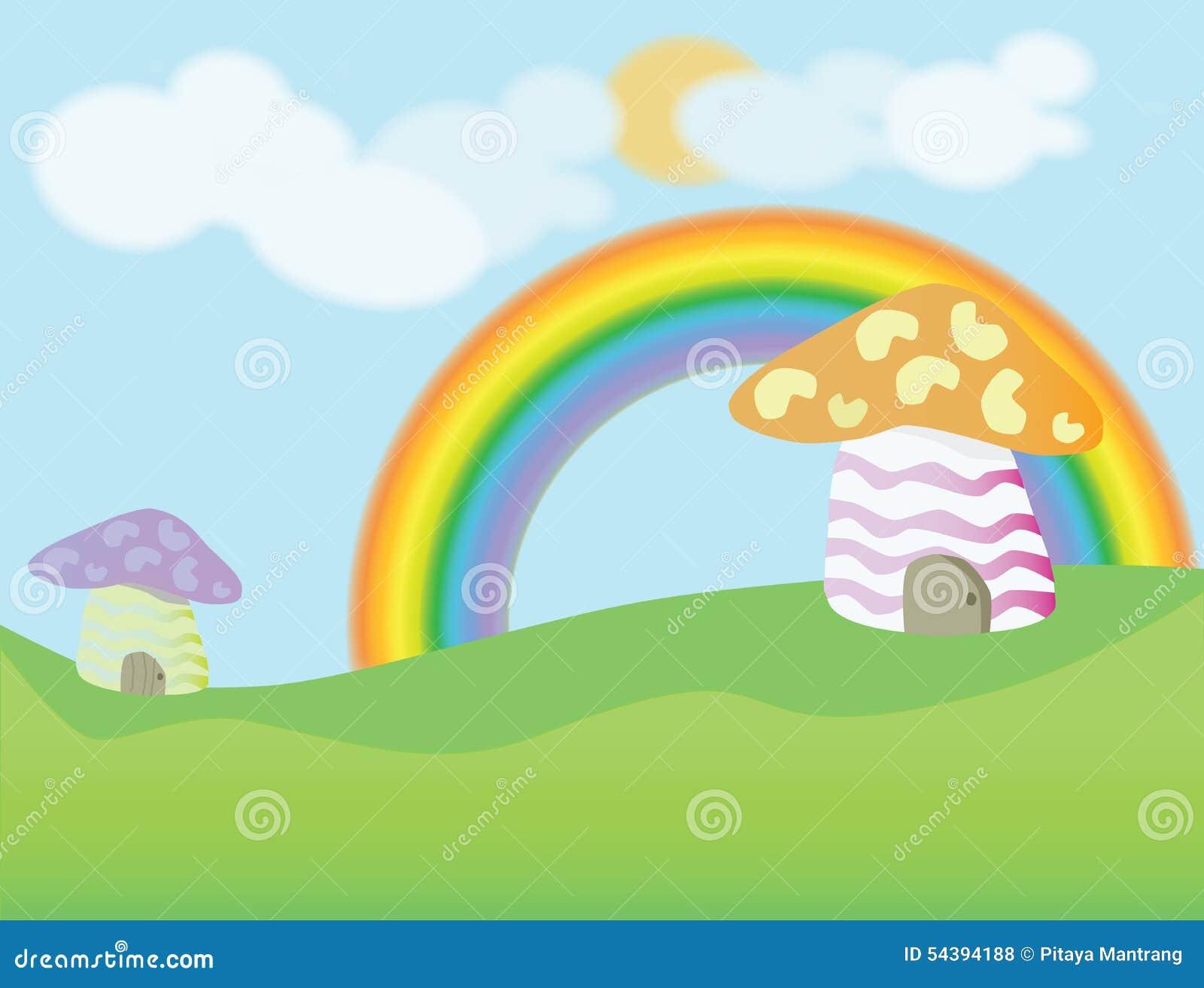 Mushroom House Cartoon Background Stock Vector Image