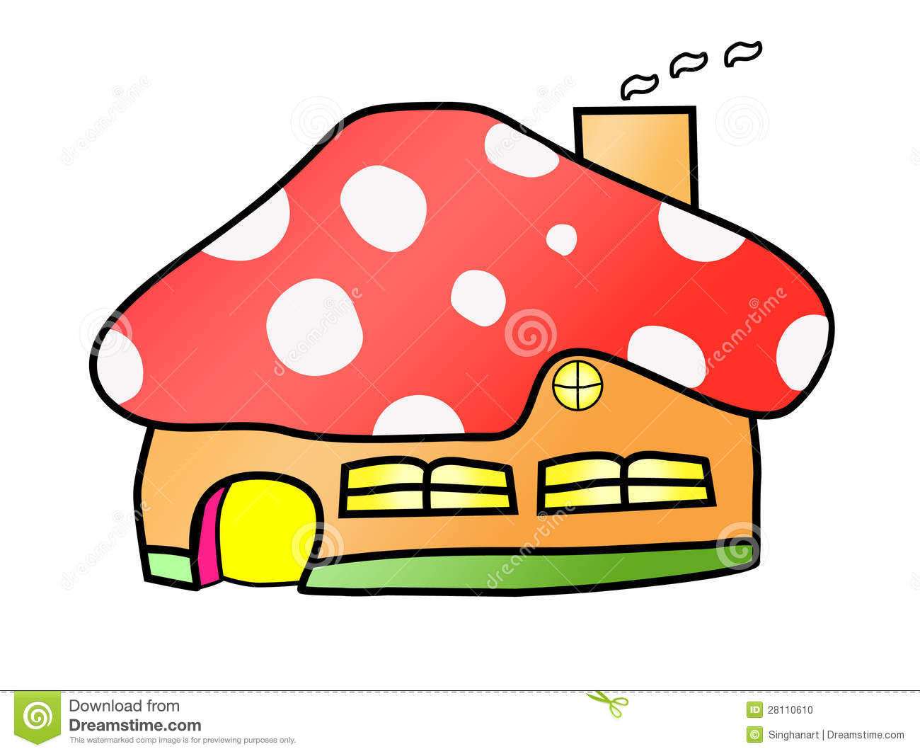 Mushroom House Cartoon Vector Stock Photo Image 28110610