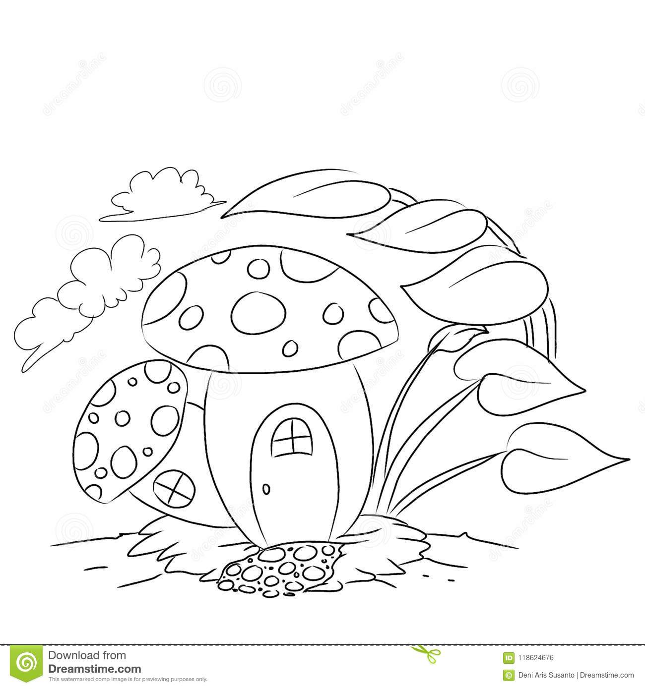 fairy graphic outline coloring pages | Mushroom House Outline Cartoon Colouring Page Stock ...