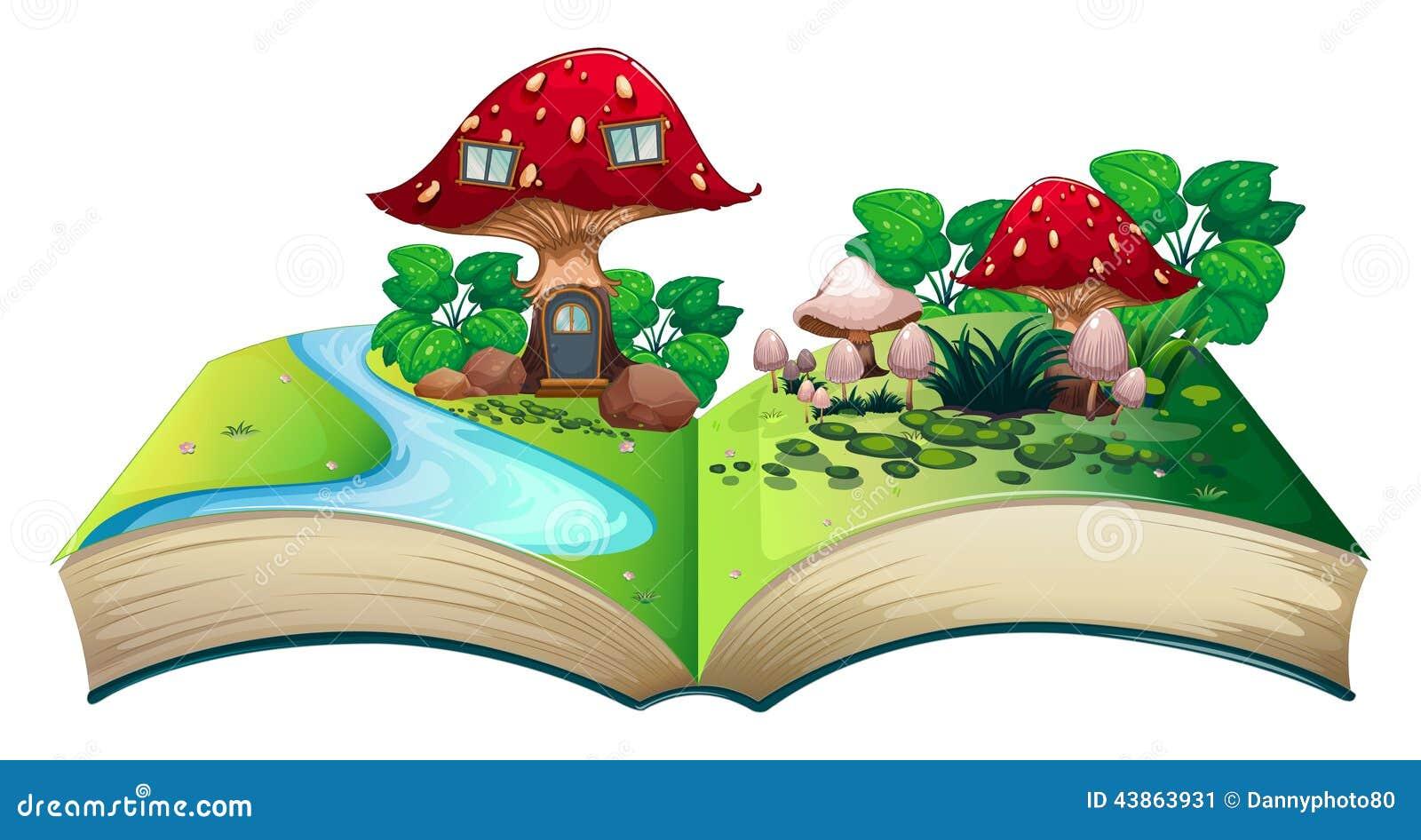 4 Bedroom House Plans 1 Story Mushroom Popup Book Stock Vector Illustration Of
