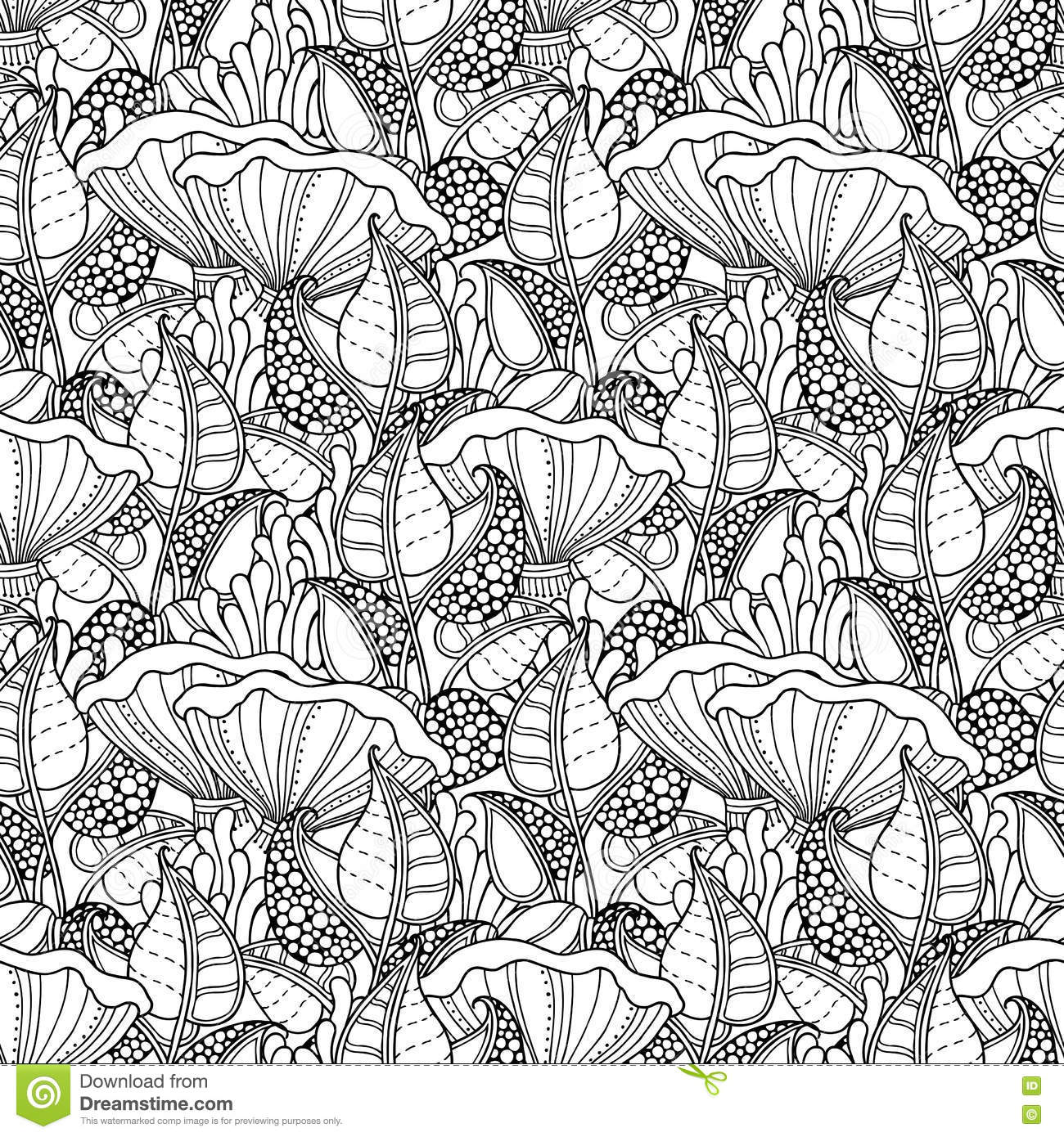 Mushroom seamless pattern cartoon vector cartoondealer for Where the red fern grows coloring pages