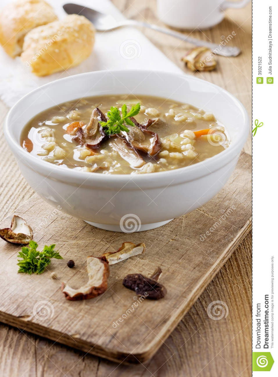 Mushroom soup with barley and vegetables