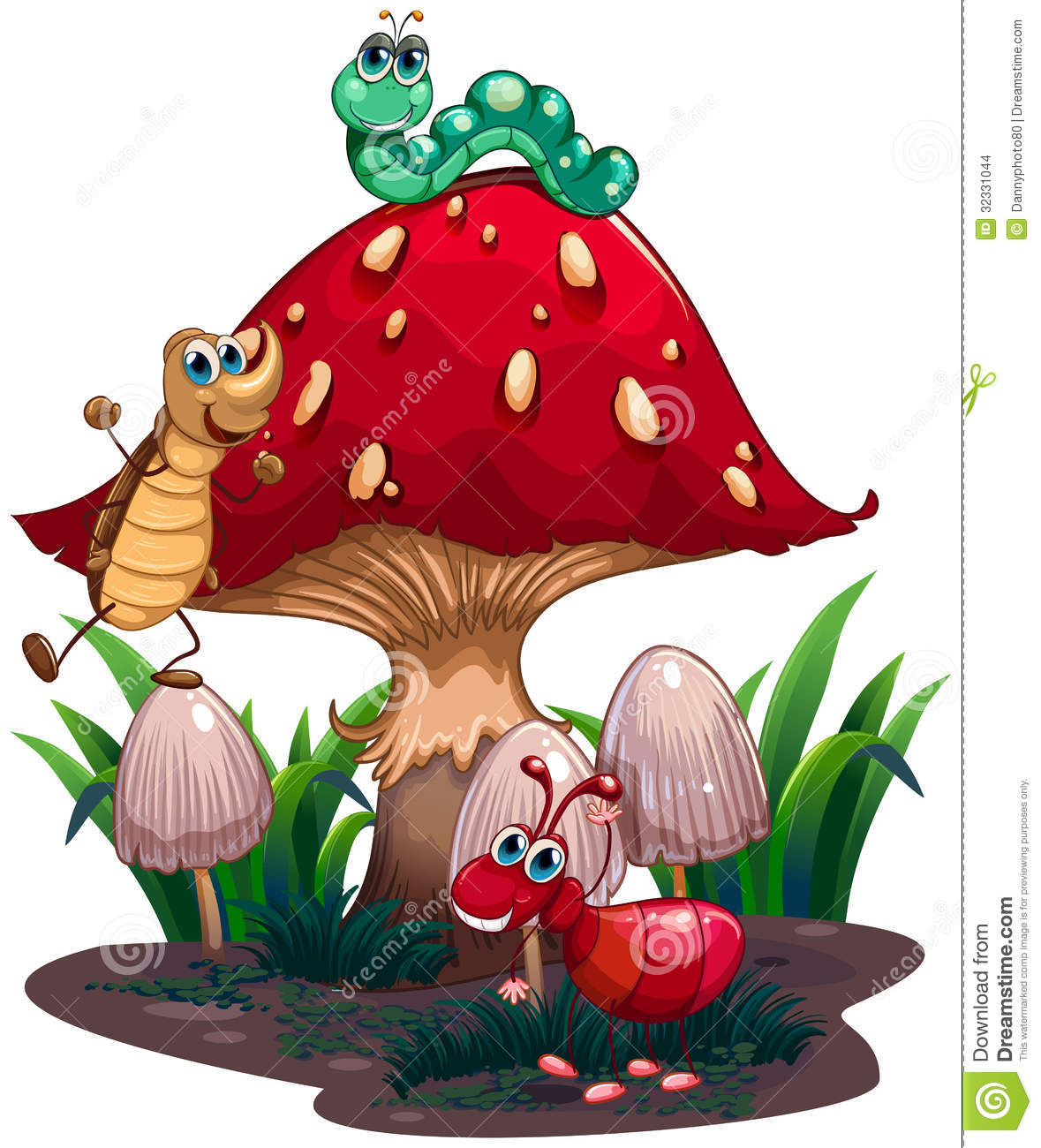 Toriko Surrounded By Bugs Jpg: A Mushroom Surrounded With Different Insects Stock Vector