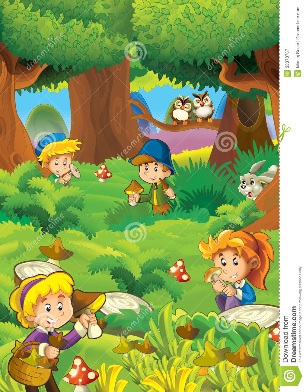 The Mushrooming In The Wood - Illustration For The ...