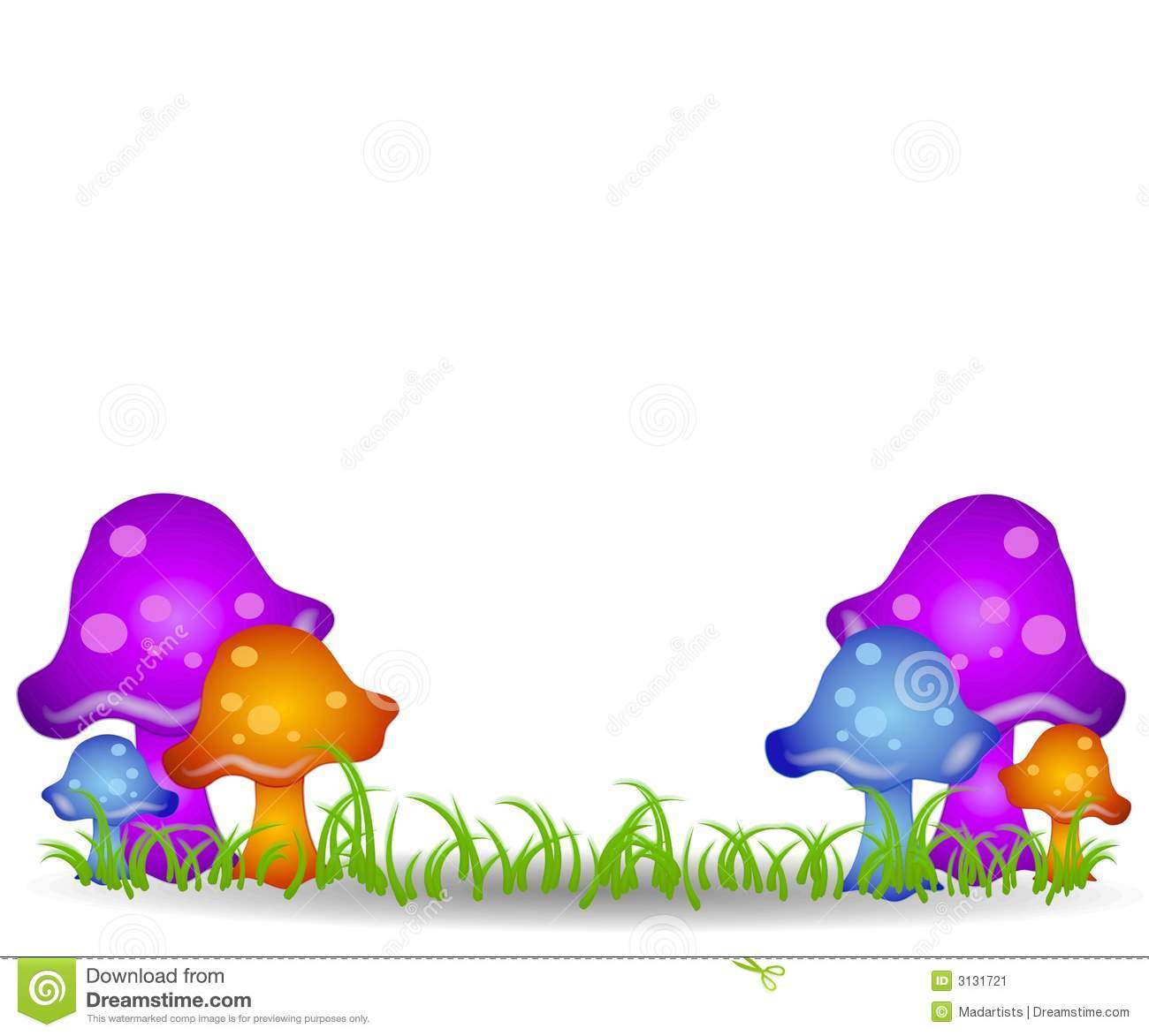 ... featuring a number of colorful mushrooms in a grassy meadow