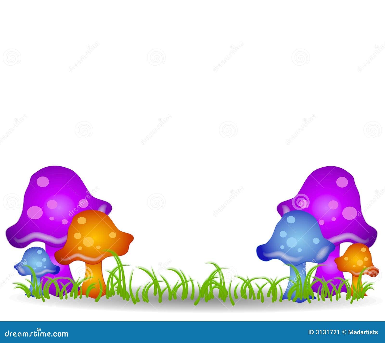 Mushrooms in Field Clip Art 2