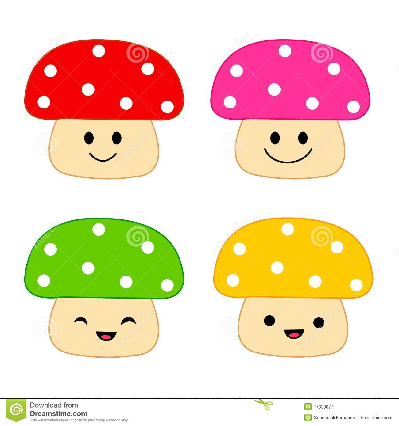 Illustration of a group of colorful mushrooms with different facial ...