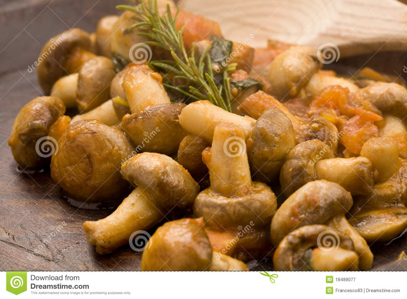 Download Mushrooms with tomatoes stock image. Image of cooked - 18489077