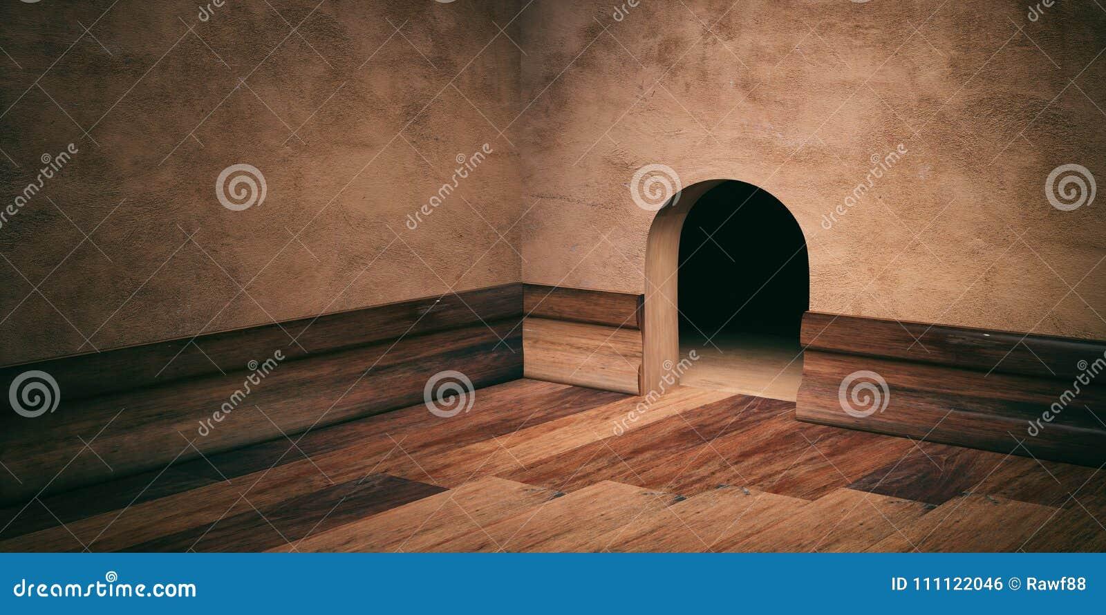 Mushushål på den packade väggen, trägolv och att kringgå, kopieringsutrymme illustration 3d