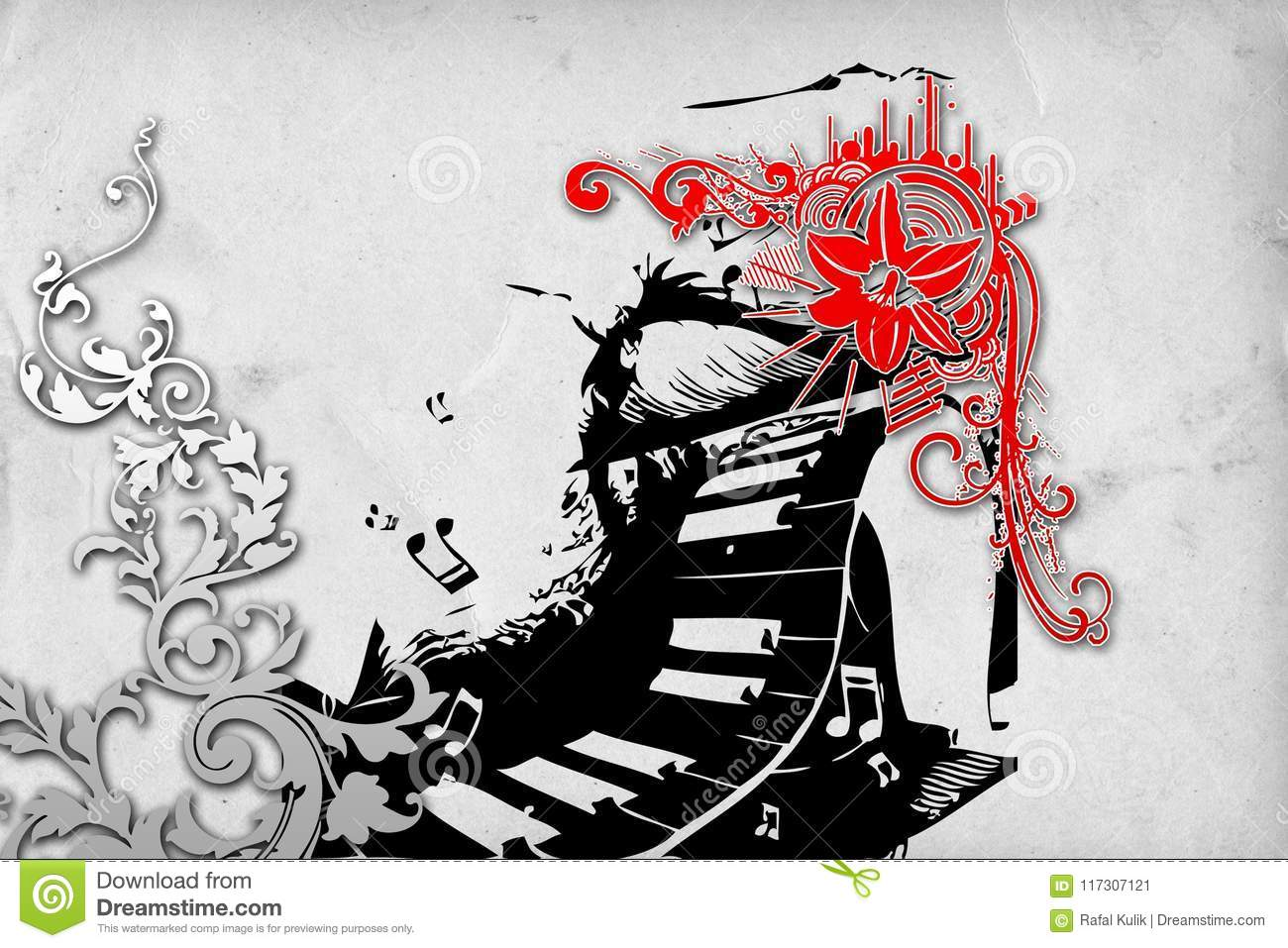 Music Abstract Color Design Funny Image Stock Illustration