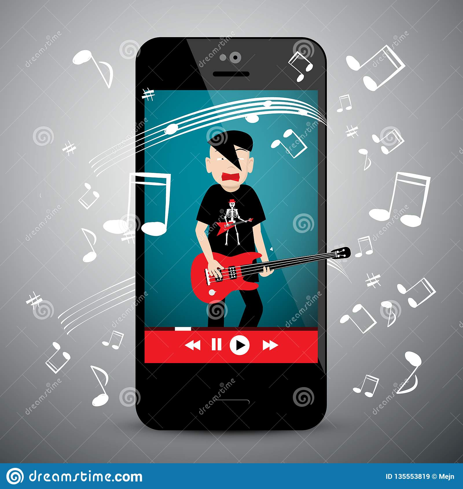 Music App On Cellphone. Rock Guitar Player. Stock Vector