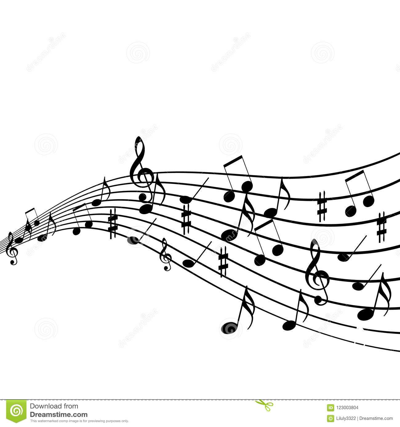 Musical Design Elements From Music Staff With Treble Clef