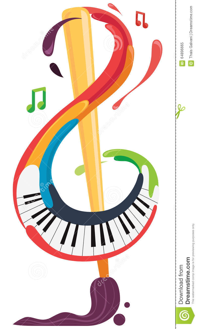 Music And Art Brush And Piano Stock Vector Image 64896665