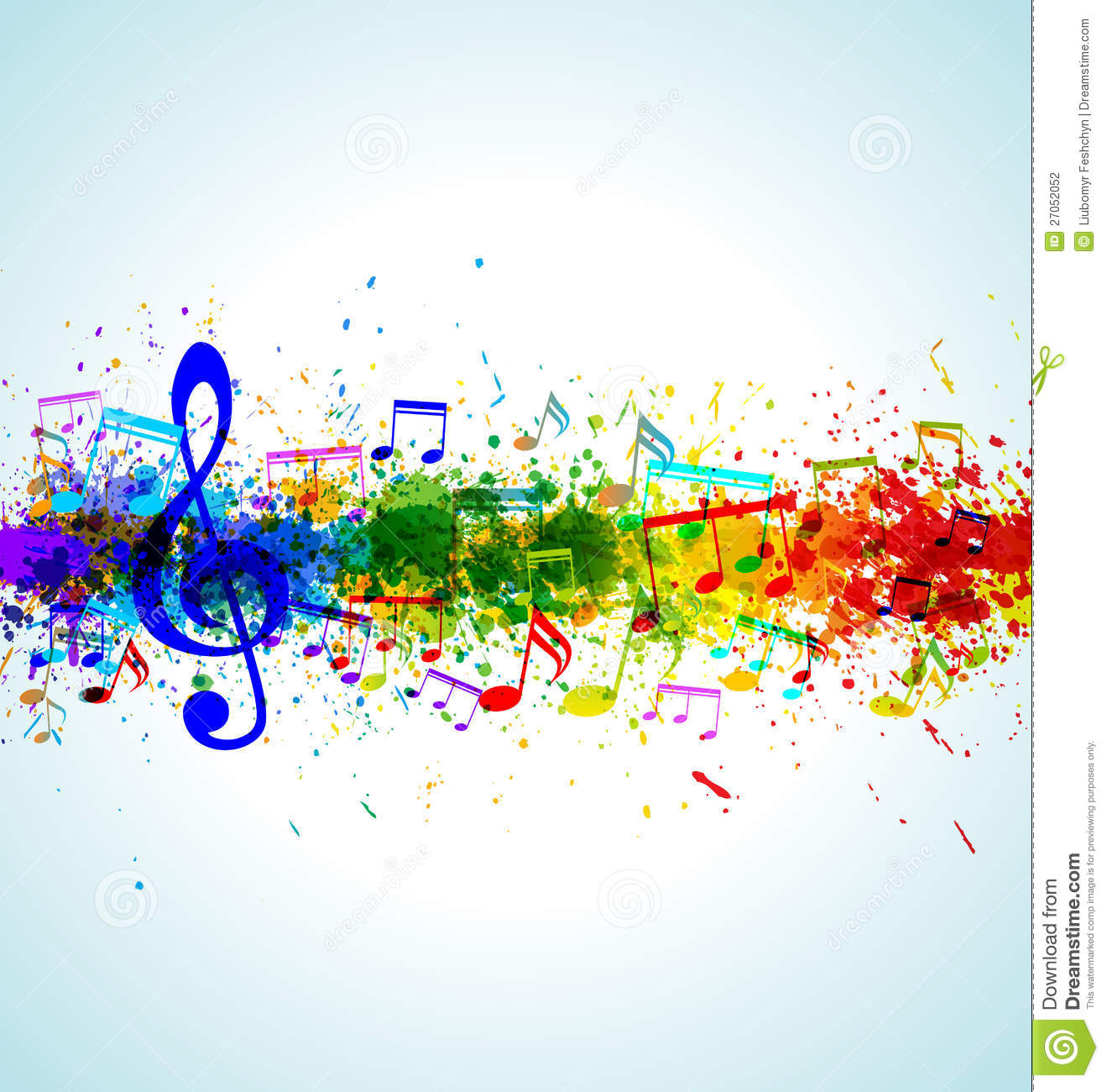 Music background. Color paint splashes. Gradient vector. EPS10.