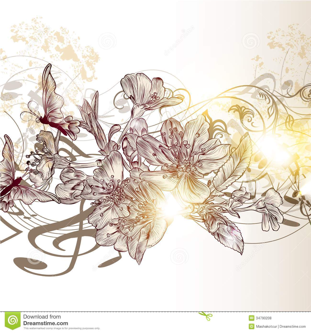 music notes backgrounds floral - photo #11