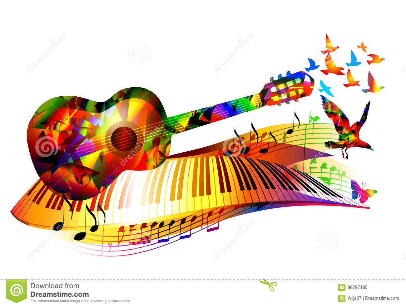 Music Background With Guitar Stock Vector Illustration Of Sheet Ragged 88297185