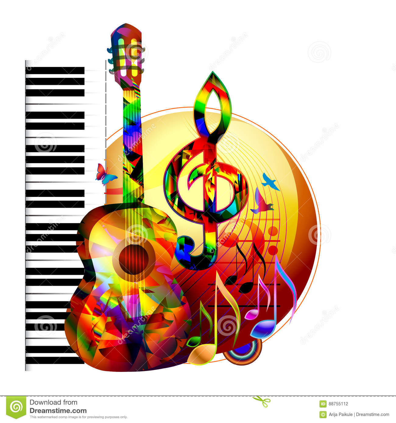 Music Background With Guitar Stock Vector Illustration Of Color Concert 88755112