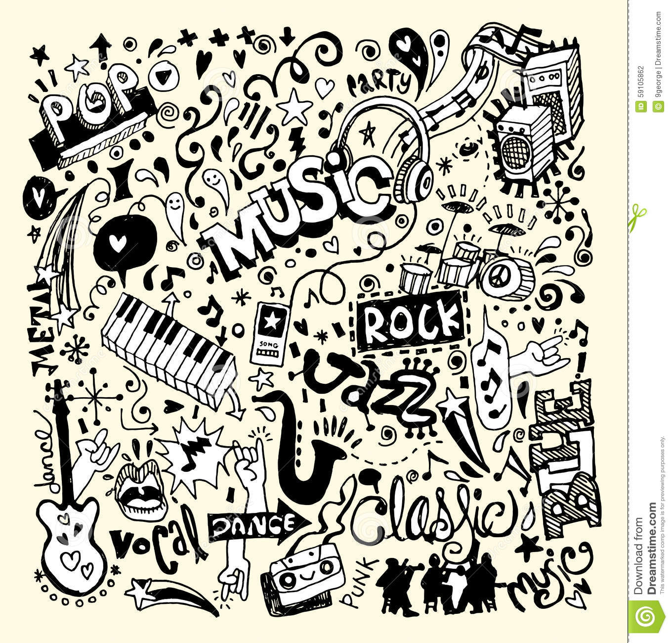 music background  hand drawing doodle stock vector image headphone vector image free headphone vector free