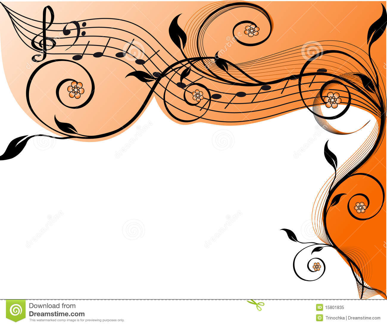 Music Background With Notes And Flowers. Royalty Free