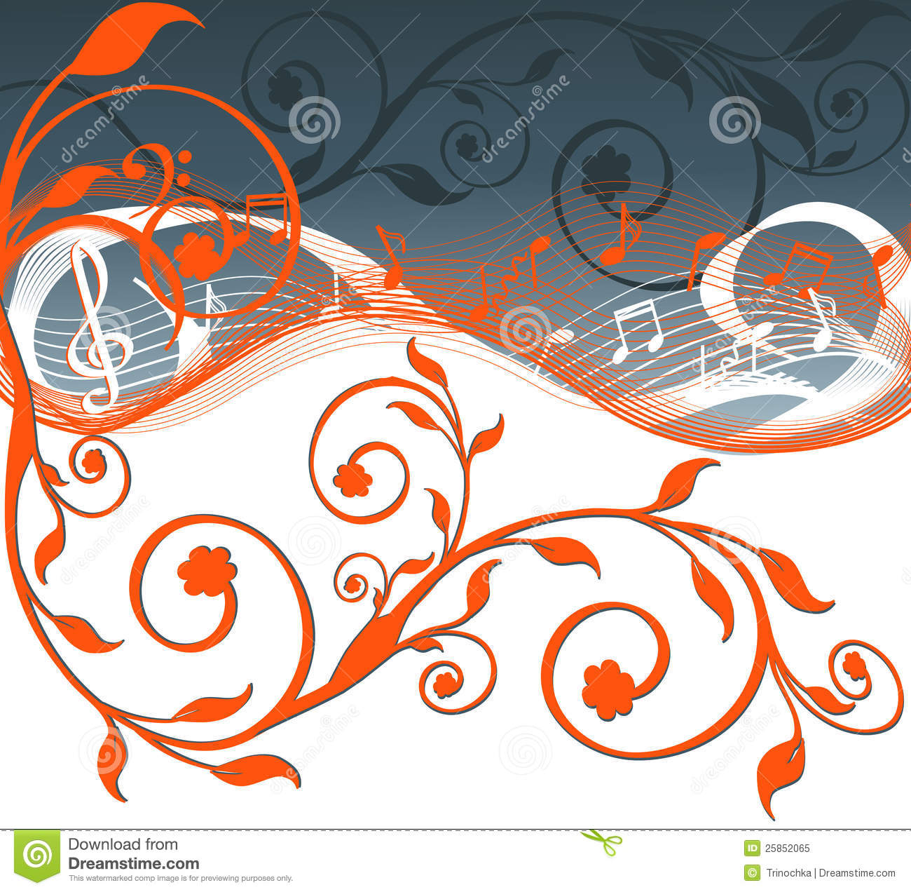 Music Background With Notes And Flowers. Stock Vector