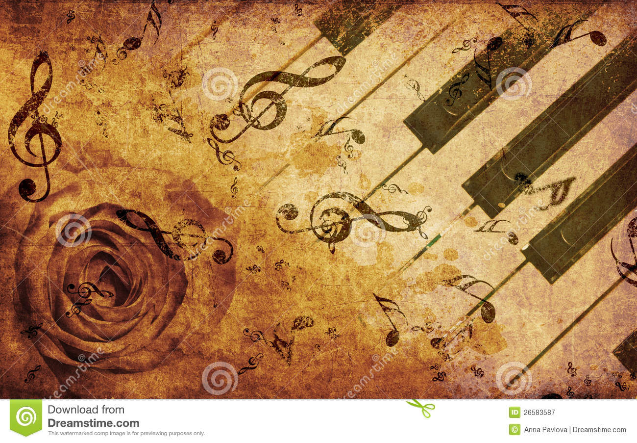 Music Background With Rose And Notes Stock Illustration