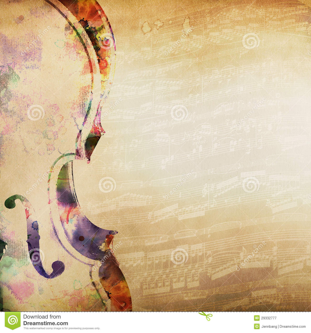 Music Background With Violin Stock Illustration - Image ...