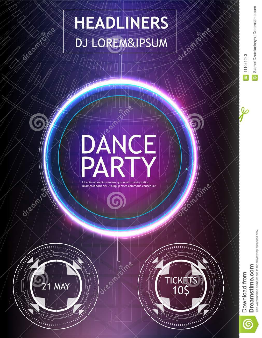 Music Banner Abstract  Night Dance Party Music Night Poster