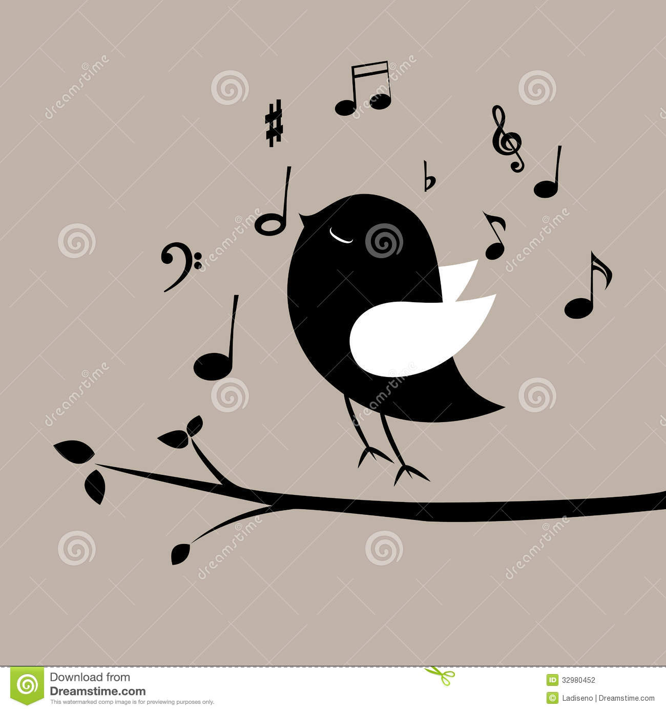 Music bird with music notes on gray background.