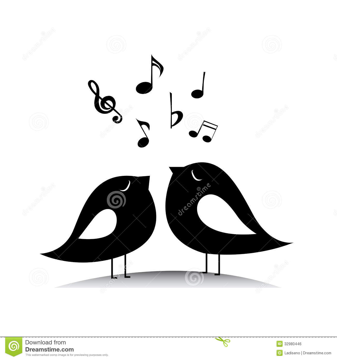 Music birds with music notes on white background