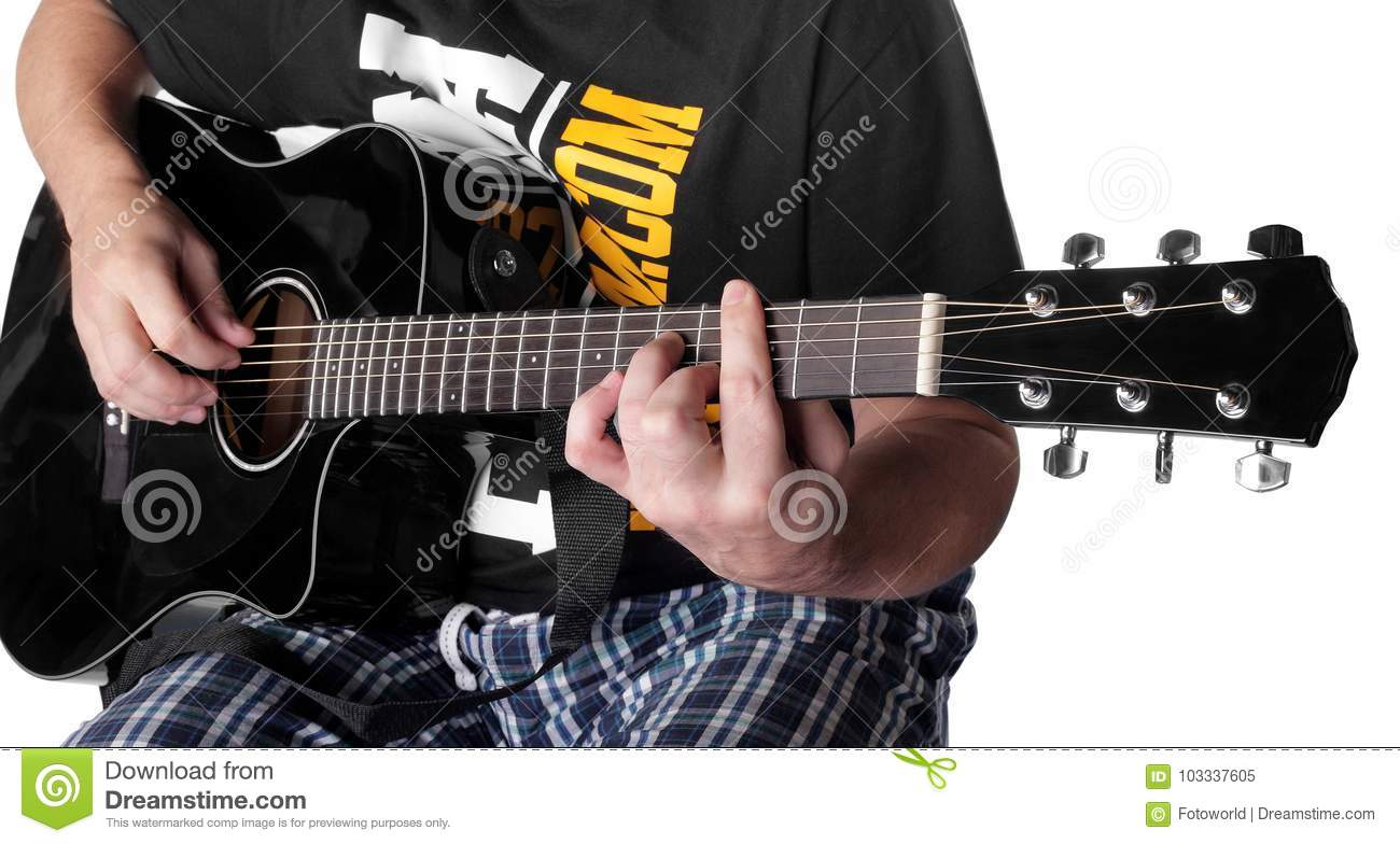 Music Black Electric Acoustic Guitar Player Chord C M7 Stock Image