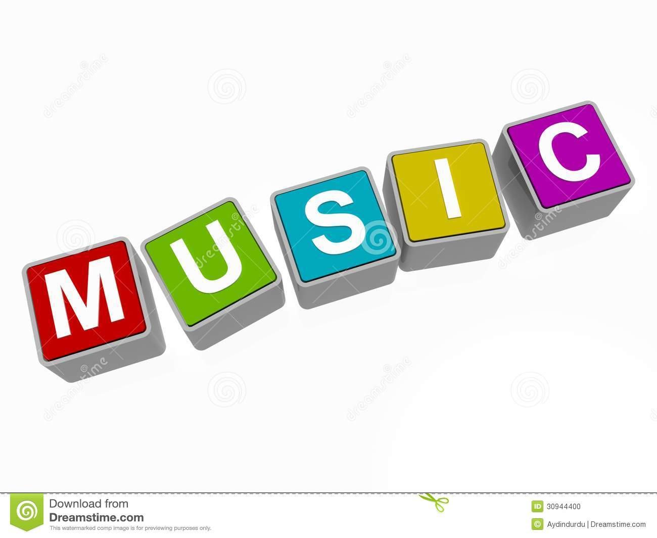 Music in block letters stock illustration  Illustration of