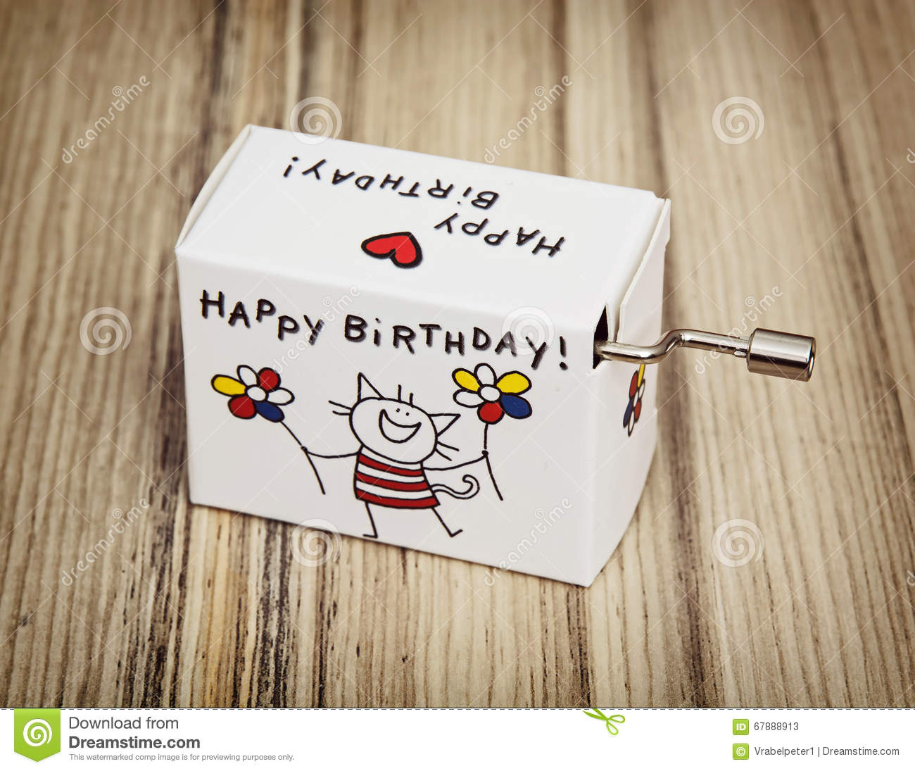 Music Box With Funny Title Happy Birthday Stock Image
