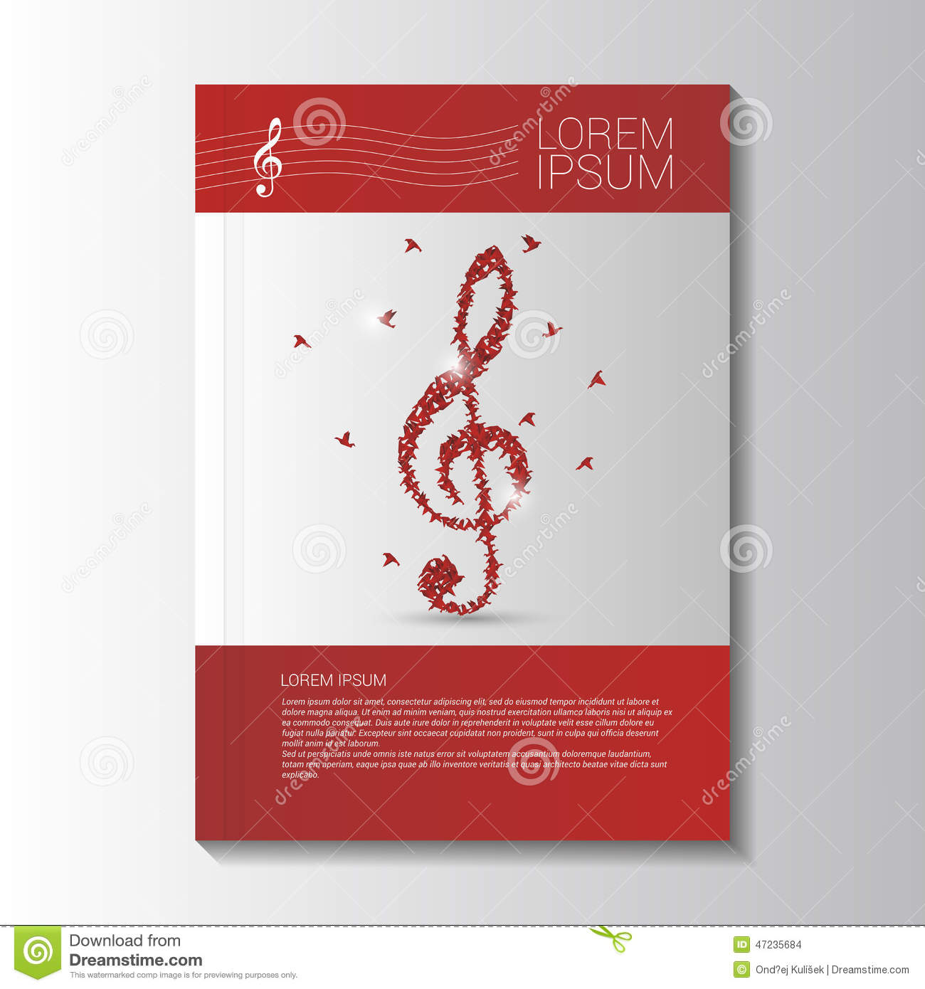 Music Brochure Template With Treble Clef Vector Illustration – Music Brochure