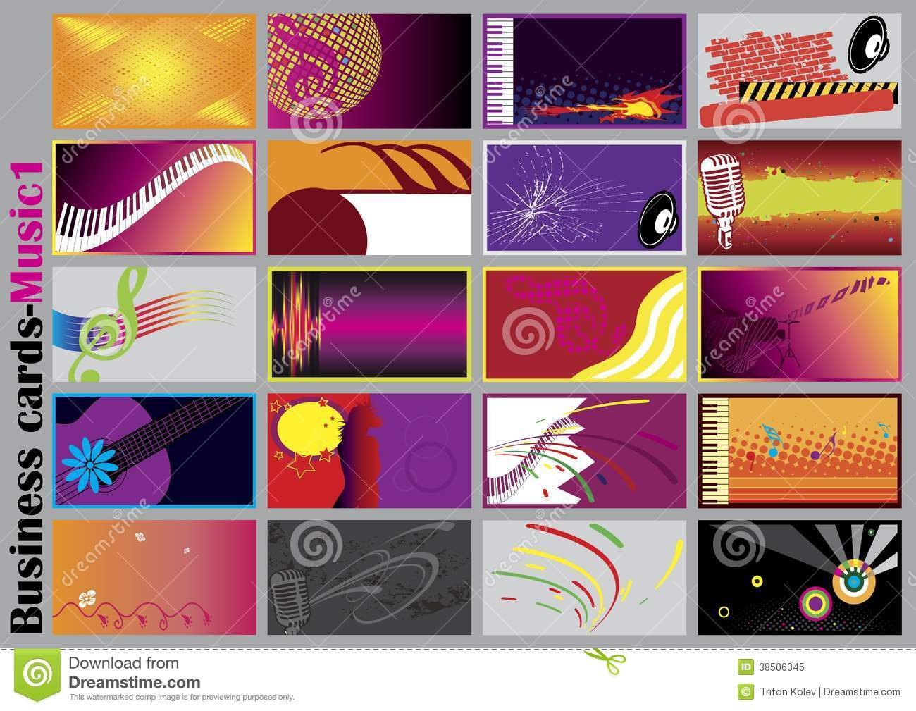 Music business cards stock vector. Illustration of banner - 38506345