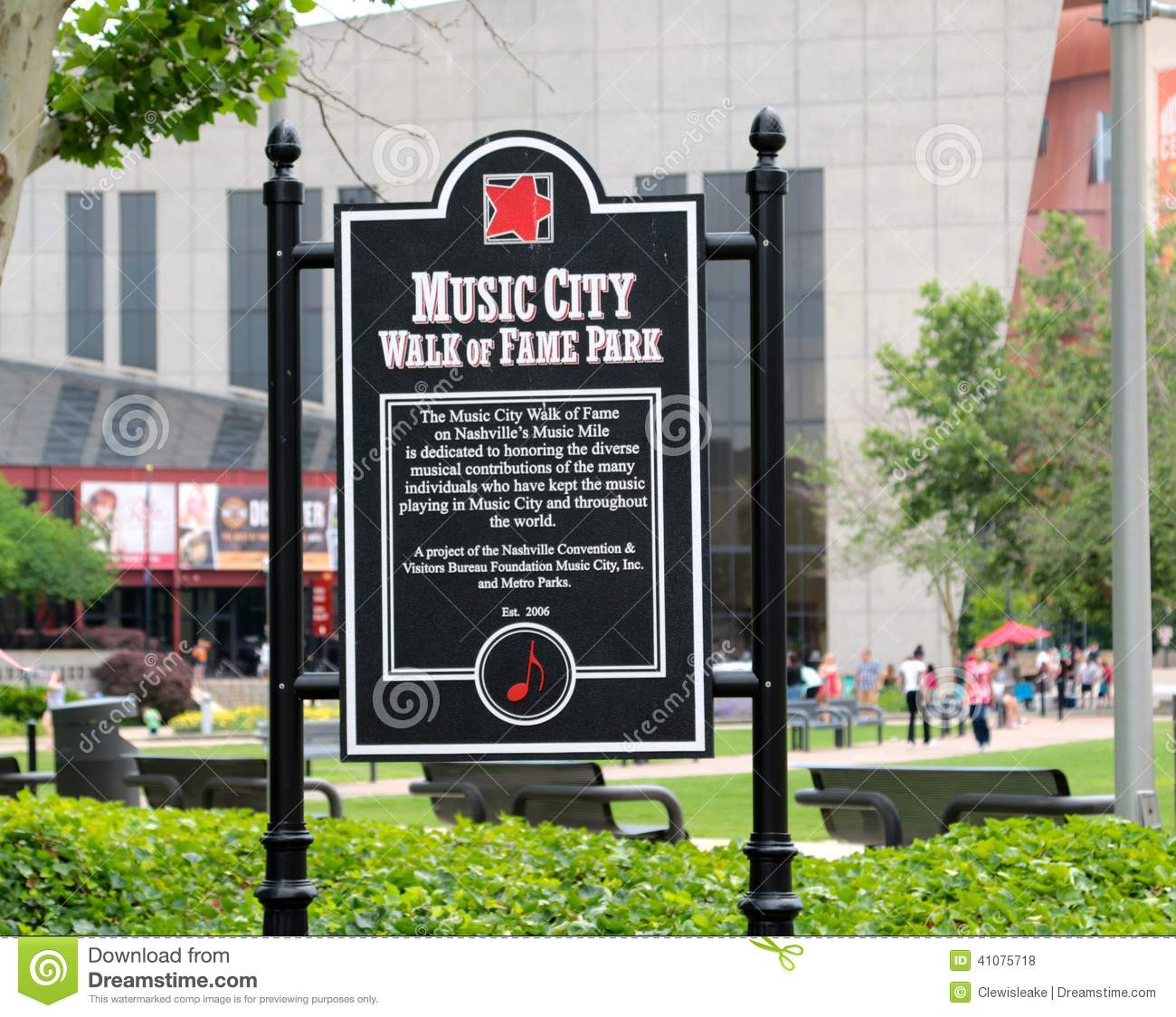 Country Music City Stock Photos Country Music City Stock: Music City Walk Of Fame Park Sign, Nashville Tennessee
