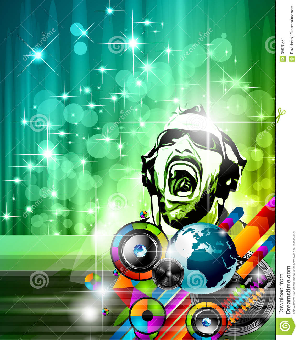 Music Club Background For Disco Dance Stock Vector Illustration Of